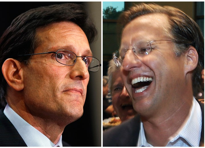 APTOPIX Virginia Primary Cantor House Majority Leader Eric Cantor, left, was defeated in a Virginia Republican primary Tuesday by Tea Party-backed candidate Dave Brat, right.