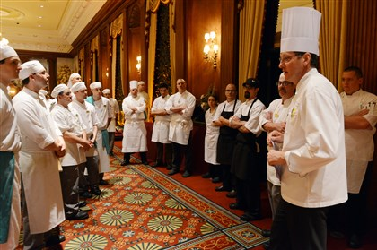 Executive chef Keith Coughenour Executive chef Keith Coughenour, right, speaks at a chefs meeting at The Duquesne Club.