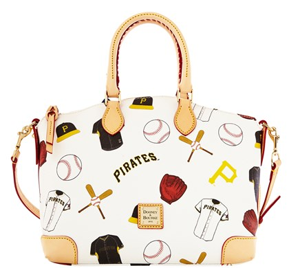 20140611hostylebook0616Bmag Pirates satchel from Dooney & Bourke's Major League Baseball Collection, $248 at www.dooney.com.