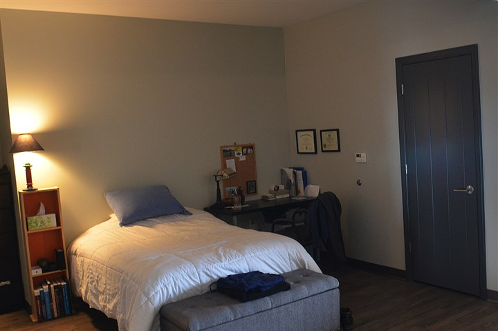 bedroom in a studio apartment at Bakery Living. The bedroom in a studio apartment at Bakery Living.