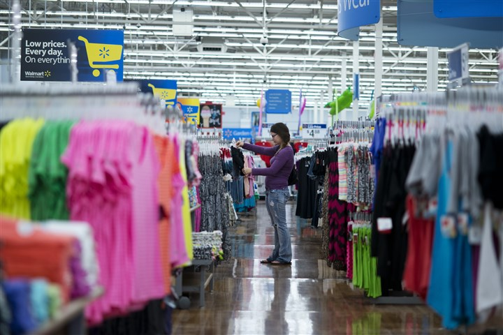 Retail Sales Chelsea Vick shops for clothes at Wal-Mart Supercenter in Rogers, Ark.