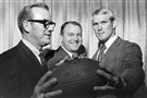 From the archives: In this Feb. 13, 1970, file photo, Steelers' No. 1 draft choice Terry Bradshaw, right, poses with head coach Chuck Noll, center, and his father, William M. Bradshaw, left, in Pittsburgh.