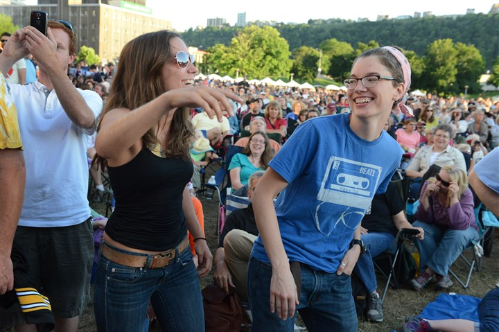 Corrie Parrish of Forest Hills and Kate Mueller of Garfield Corrie Parrish of Forest Hills, left, and Kate Mueller of Garfield dance to Lucinda Williams performing at the Three Rivers Arts Festival in Point State Park.