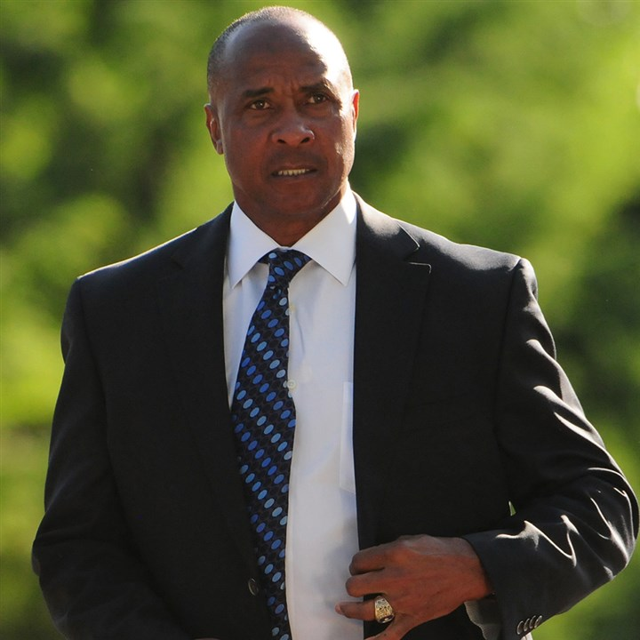 201406015CMNollSports004-3 Retired Steelers wide receiver Lynn Swann arrives at the public viewing for legendary late Steelers coach Chuck Noll at the John A. Freyvogel Sons Funeral Home in Oakland. Swann and Noll won four Super Bowls together with the Steelers.