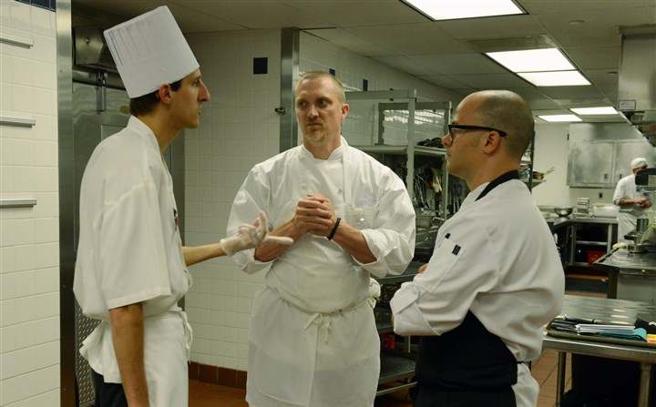 20140612bwDinnerMag05 From left, Michael Godlewski, of The Duquesne Club, talks with Derek Stevens of Eleven and Justin Severino chef and owner, Cure.
