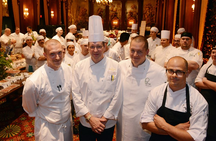 20140612bwDinnerMag03 Executive chefs from left: Derek Stevens, Eleven; Keith Coughenour, The Duquesne Club; Tim Fetter, Parkhurst Hospitality Group and Justin Severino chef and owner, Cure.