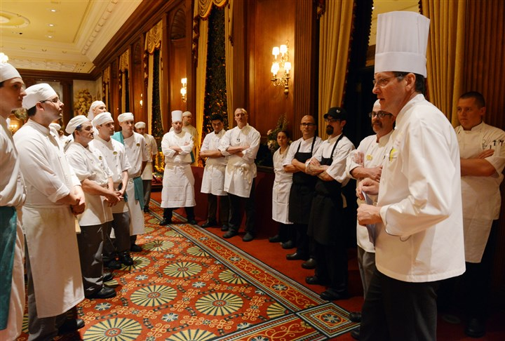 20140612bwDinnerMag04 Keith Coughenour, right, executive chef at The Duquesne Club at the chefs meeting.