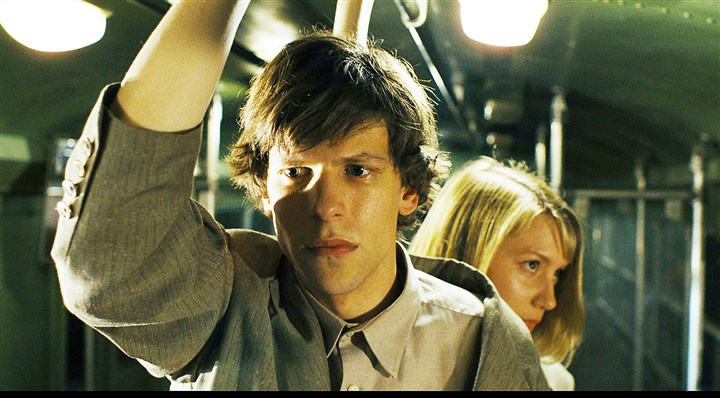 "20140620TheDouble2-1 Jesse Eisenberg and Mia Wasikowska in ""The Double."""