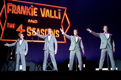 "20140620JerseyBoys1 John Lloyd Young as Frankie Valli, Erich Bergen as Bob Gaudio, Vincent Piazza as Tommy DeVito and Michael Lomenda as Nick Massi in ""Jersey Boys."""