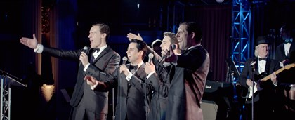 "20140620JerseyBoys4 Erich Bergen, left, as Bob Gaudio, John Lloyd Young as Frankie Valli, Vincent Piazza as Tommy DeVito and Michael Lomenda as Nick Massi in ""Jersey Boys."""