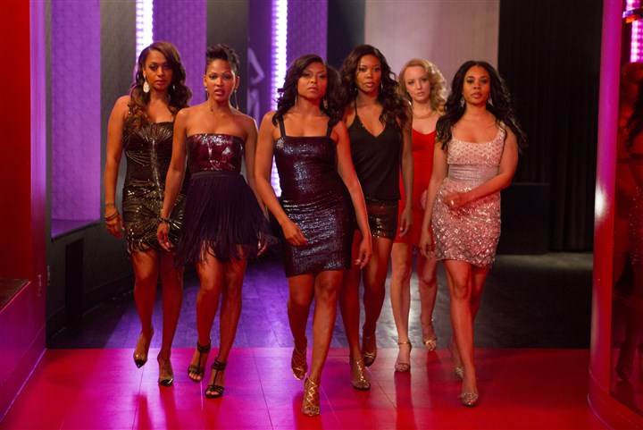 "20140620Think4-2 In ""Think Like a Man Too"" are, from left, LaLa Anthony, Meagan Good, Taraji P. Henson, Regina Hall, Gabrielle Union and Wendi McLendon-Covey. They are about to have a fun girls night out at Planet Hollywood's Gallery Nightclub in Las Vegas."