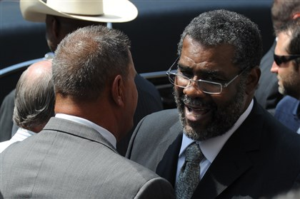 Joe Greene at Chuck Noll funeral Former Steelers John Banaszak, left, greets teammate Joe Greene after the funeral of former Steelers head coach Chuck Noll at the St. Paul Cathedral in Oakland in June.