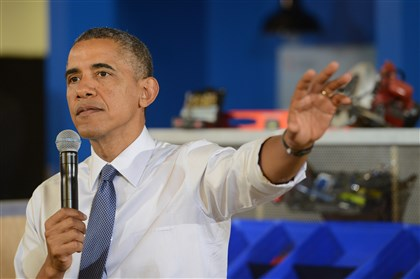 Barack Obama in TechShop Pittsburgh Bakery Square June 2014 The president cannot lead, Mr. Burdis writes.