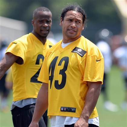 Troy Polamalu Troy Polamalu, with Ike Taylor behind him, talks with teammates during minicamp on the South Side Tuesday afternoon.