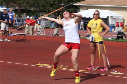 20140611hoPaterra1zspts.jpg Elizabeth Forward graduate Tori Paterra threw the javelin 182 feet, 3 inches at the NCAA Track & Field Championships last weekend in Eugene, Ore.