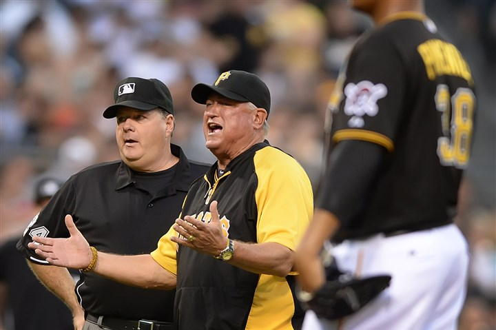 20140618pdPiratesSports06-3 Peter Diana / Post-Gazette 6/18/14 PITTSBURGH: Pittsburgh Pirates manager Clint Hurdle argues video replay call which Russell Martin was called for blocking the plate scoring the Reds Devin Mesoraco at PNC Park Pittsburgh PA.