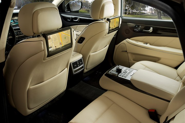 2014hyundaiINT-1 The rear seat in the 2014 Hyundai Equus gives its occupants some special treatment, and even allows passengers to stretch out and recline.