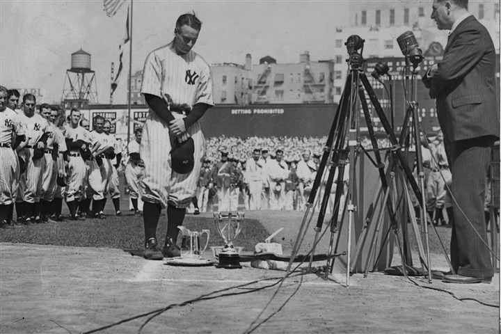 Lou Gehrig during a sold-out tribute at Yankee Stadium Lou Gehrig during a sold-out tribute at Yankee Stadium on July 4, 1939.