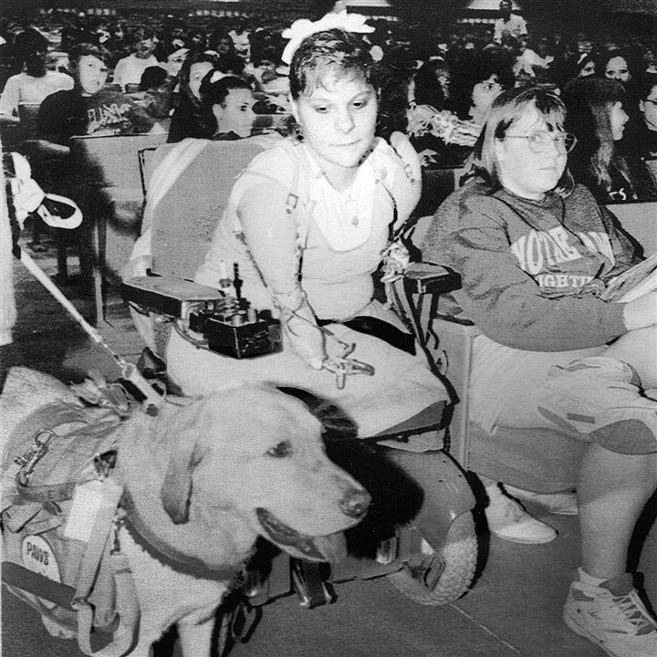"Amy Brooks at age 13 Amy Brooks, 13, gets aquainted with Boomer, a ""Paws"" companion dog, during an assembly at the Northgate Jr.-Sr. High School."