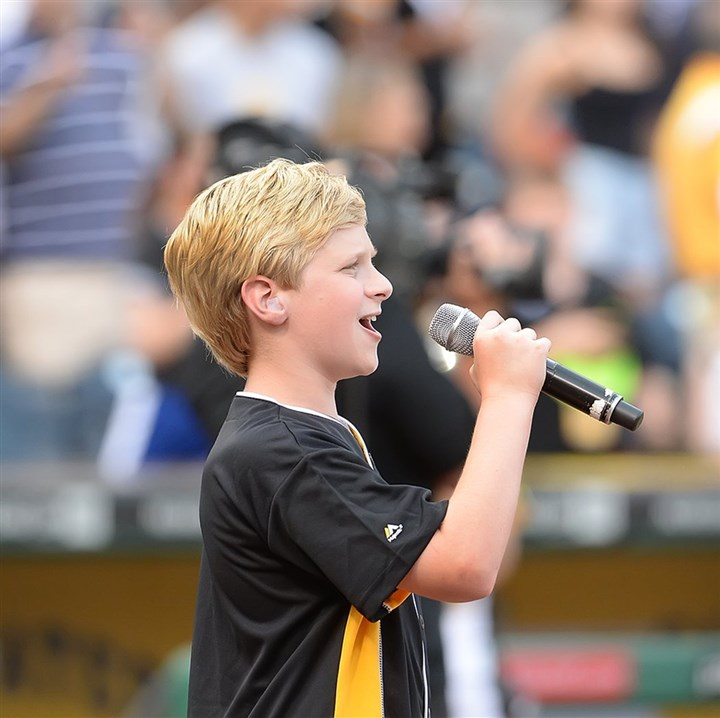 20140618pdPiratesSports01 Hunter Briggs, a 7th grader at Chartiers Valley Middle School, was chosen to sing the National Anthem at PNC Park.
