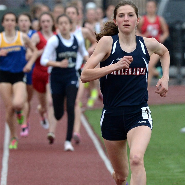 "20140411mftracksports07.jpg Shaler's Brianna Schwartz, shown competing in the 1,600-meter run at the Butler Invitational in April, competed in the ""Dream Mile"" Saturday in New York City."