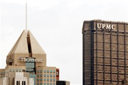 The Fifth Avenue Place headquarters of Highmark and the U.S. Steel Tower offices of UPMC are seen in Downtown Pittsburgh.