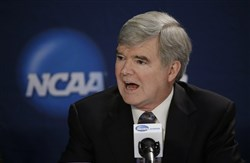 NCAA President Mark Emmert speaks during an April 2014 news conference in Arlington, Texas.