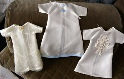 A few of the angel gowns  A few of the angel gowns Rose Ann Milbert crafted from wedding dresses.