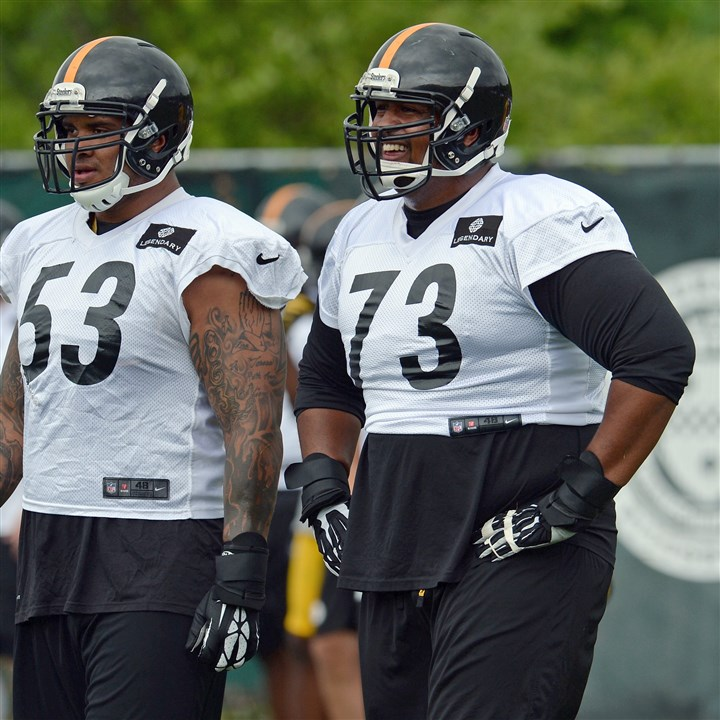 20140619mfsteelerssports01 Steelers offensive linemen Maurkice Pouncey and Ramon Foster take part in minicamp Thursday on the South Side.
