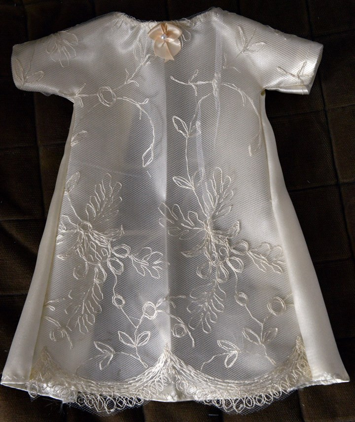 One of the angel gowns One of the angel gowns Rose Ann Milbert crafted from wedding dresses.