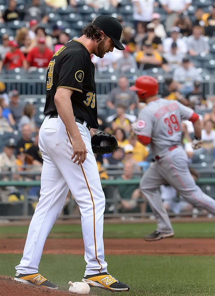 20140619pdPiratesSports09-5 Pittsburgh Pirates closer Jason Grilli entered the game with a 3-2 lead in the ninth inning Thursday but allowed a one-out homer to Devin Mesoraco that tied the score.