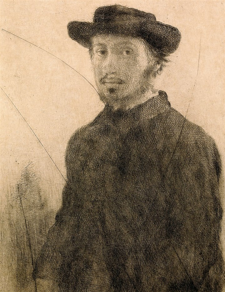 20140620hoDegasMag (5)-4 Edgar Degas (French, 1834–1917: Self-portrait, 1857. 1857. Etching and drypoint, from the canceled plate.