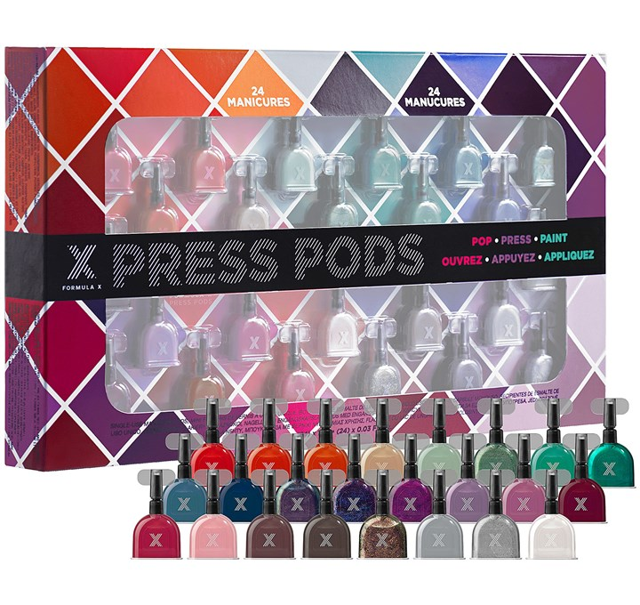 Formula X press pod nail polishes No-hassle nail polish: Single-use nail polish Press Pods by FORMULA X ($39 for a multi-color 24-pack at Sephora).
