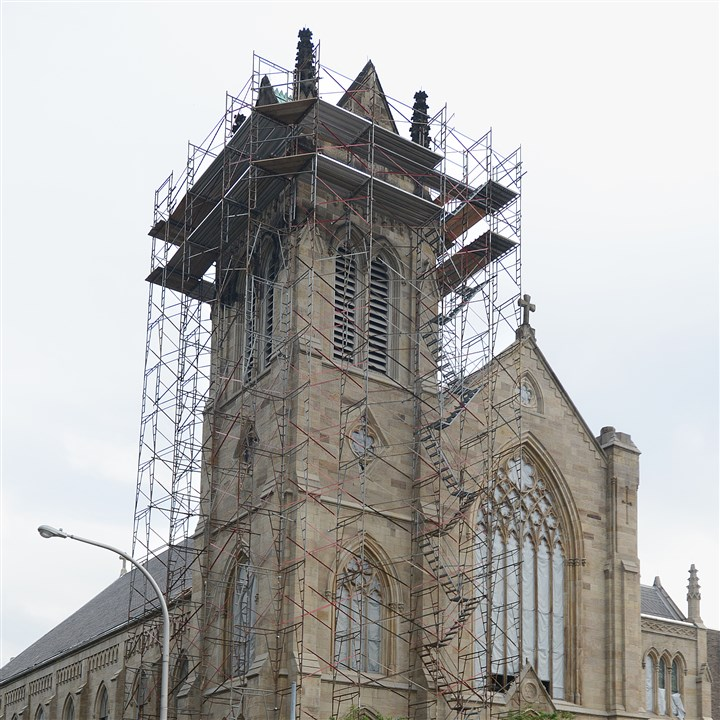 St. Peter Catholic Church Pittsburgh renovation The St. Peter Catholic Church along West Ohio Street on the North Side is sheathed is scaffolding for its renovation project.