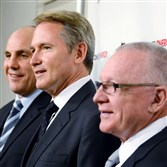 From left: Assistant coach Rick Tocchet, Coach Mike Johnston and general manager Jim Rutherford at Consol Energy Center.