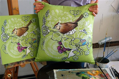 20140629Style3-2 Sparrow on chartreuse pillow by Ashley Cecil, $125 at www.etsy.com/shop/ashleycecil.