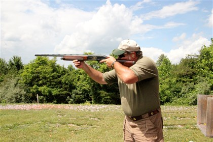 Steve Armstrong Former Marine and shooting instructor at The Homestead's Gun Club, Steve Armstrong, demonstrates how to shoot skeet. Credit