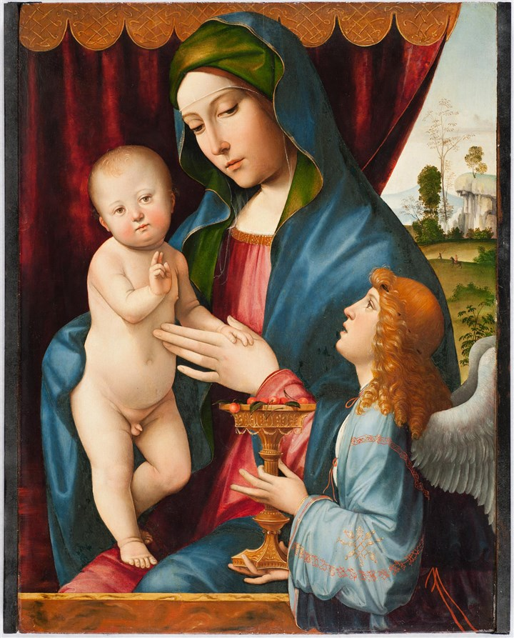 "20140625CMOAonemag Francesco Francia's ""Madonna and Child With Angel,"" 1495–1500 oil on panel. Howard A. Noble Fund."