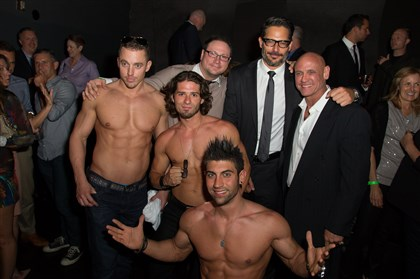 "Premiere of Main Street Films 'LA BARE' on 06-18-14 Actor/director Joe Manganiello, wearing tie, poses with the La Bare dancers at the premiere of Main Street Films ""La Bare"" after-party on June 18 in Los Angeles."