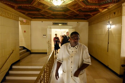 20140626MWHbellhopSunMag01 Darryl Cann, a bellman at the Omni William Penn Hotel in Downtown Pittsburgh, guides the Post-Gazette on a tour of the hotel.