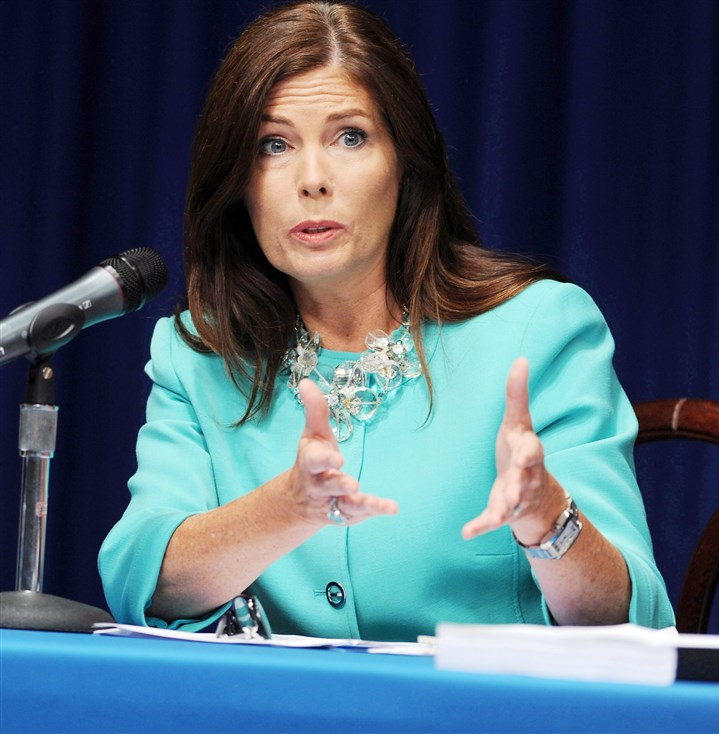 Kathleen Kane 0627 Pennsylvania Attorney General Kathleen Kane fields questions at a news conference following the release of the results of a probe into the Jerry Sandusky child molestation investigation Monday.