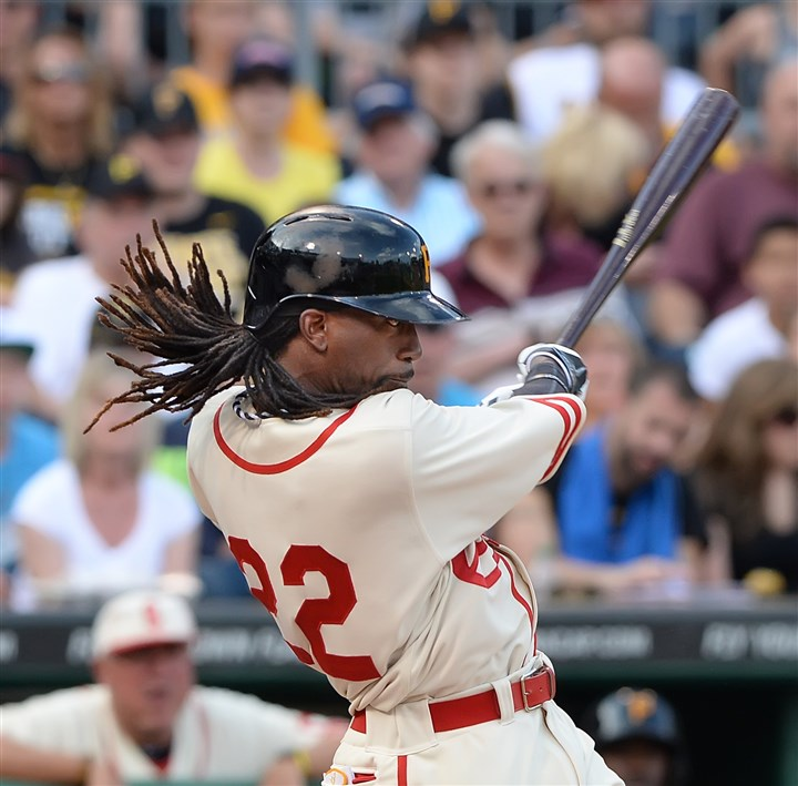 20140628pdPiratesSports05-17 Andrew McCutchen doubles in the 4th against the Mets at PNC Park in Pittsburgh.