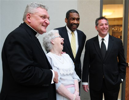 PursuerPeace Bishop David Zubik, Joanne Rogers, Bill Strickland and Rabbi Aaron Bisno.