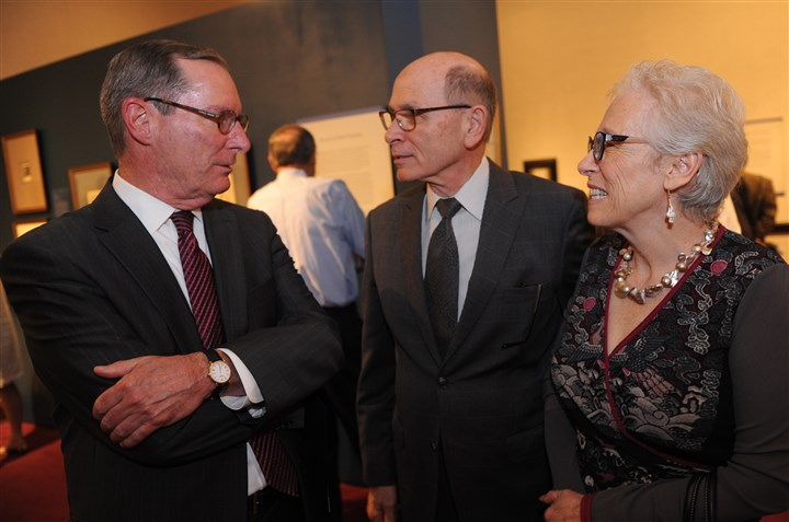 FrickDegas Bill Bodine, left, with Stuart and Beverly Denenberg.