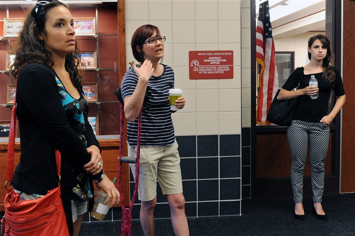 20140630JHLocalMoon02-1 Parents Joanna Conti, left, and Lori Peterson, both have children who would attend Brooks Elementary, and attended Monday's Moon Area school board meeting but they were not allowed to speak at the session.