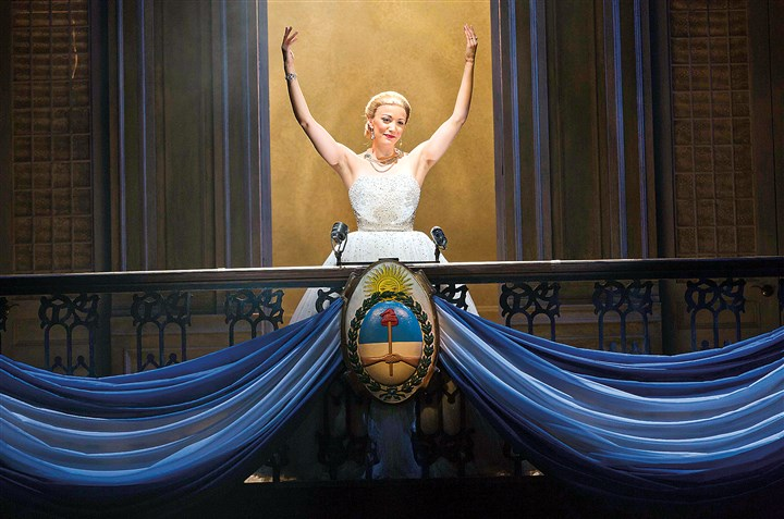 "20140706HOCarolineBowman Caroline Bowman portrays Eva Peron in the national tour of ""Evita,"" at the Benedum Center through Sunday."