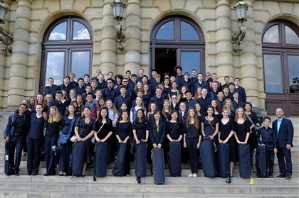 20140701hdYouthMag (1) The Pittsburgh Youth Symphony Orchestra poses June 18 outside the Dvorak Hall of the Rudolfinum in Prague before its concert.