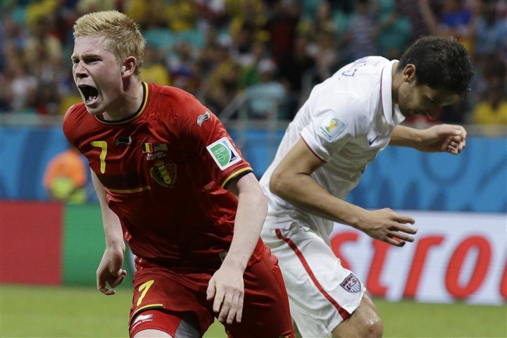 Kevin De Bruyne celebrates Belgium's Kevin De Bruyne celebrates after scoring the opening goal during the World Cup round of 16 soccer match between Belgium and the USA at the Arena Fonte Nova in Salvador, Brazil, Tuesday, July 1, 2014.