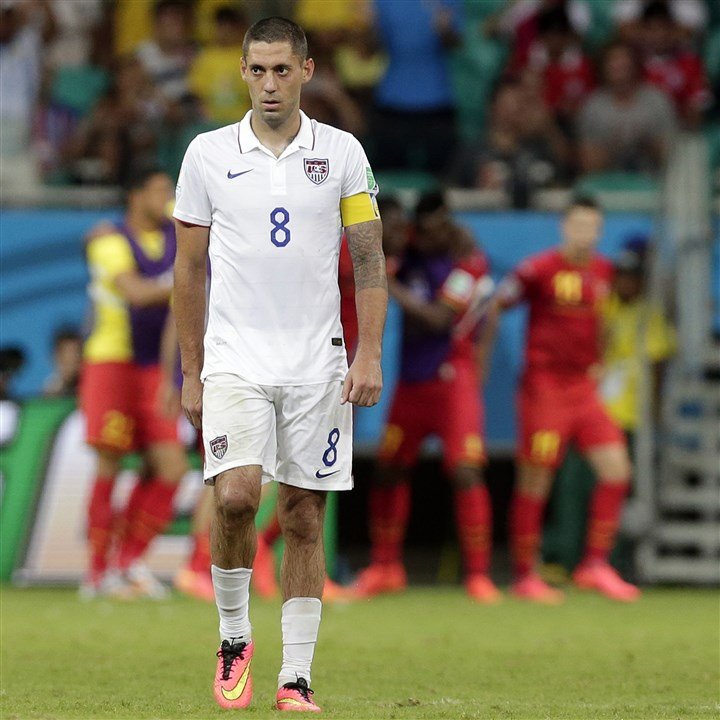 Clint Dempsey United States' Clint Dempsey walks back to midfield after Belgium's Kevin De Bruyne scored his side's first goal during the World Cup round of 16 soccer match between Belgium and the USA at the Arena Fonte Nova in Salvador, Brazil, Tuesday, July 1, 2014.