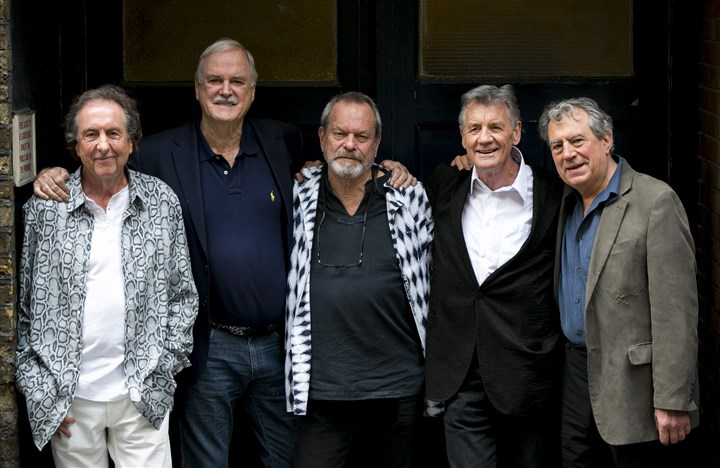 20140702MontyPython From left, Eric Idle, John Cleese, Terry Gilliam, Michael Palin and Terry Jones of the comedy group Monty Python pose for photographers during a photo call in London to promote their reunion for a series of concerts. The group had its first big success with the Monty Python's Flying Circus TV show, which ran from 1969 until 1974.